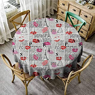 Lauren Russell Fabric Tablecloth Paris Sexy Lipstick with Tourist Attraction Tower Sketch Newspaper Looking Background Multicolor Overlays Round Tablecloth Diameter 60