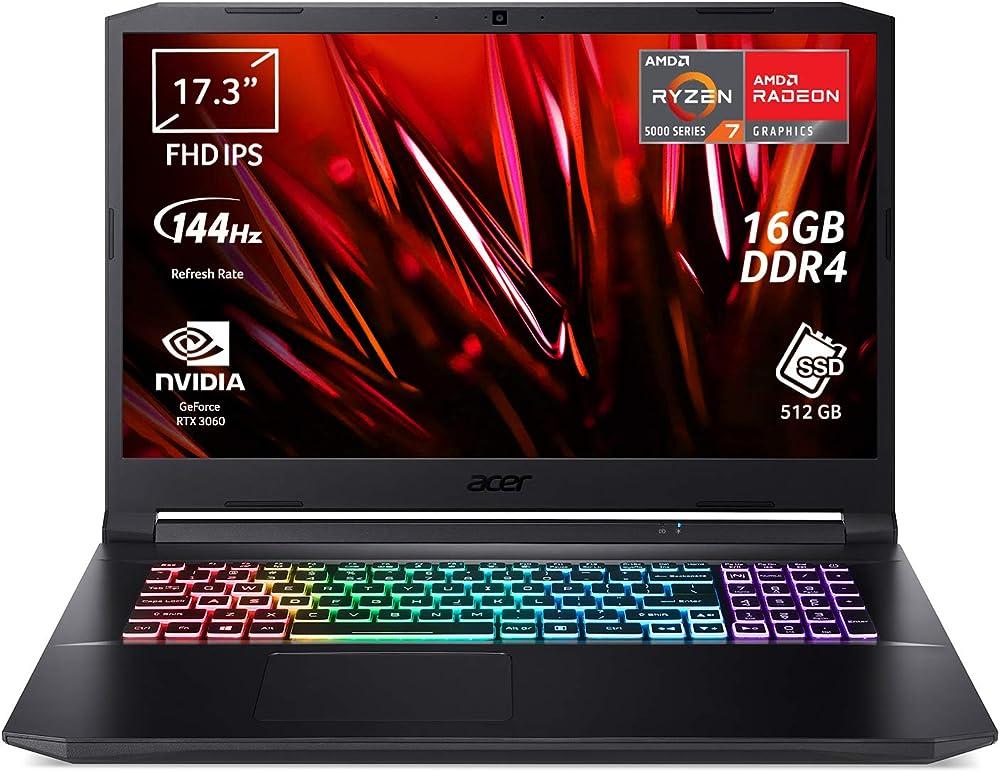 Acer pc portatile gaming amd ryzen 7 5800h nvidia geforce rtx 3060 6 gb ram 16 gb ddr4 512 gb pcie nvme ssd Nitro AN517-41-R9G5