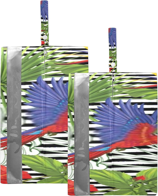 Waterproof Travel Shoe Bag Pack Sh Parrot Tropical Plants Super sale period limited Zipper supreme