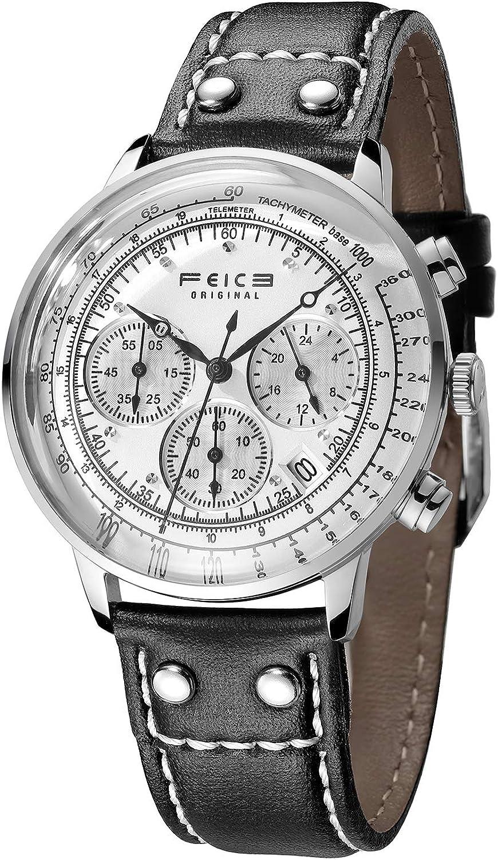 FEICE Reloj de Cuarzo Ultrafino Reloj Analogico para Hombre Reloj Multifuncional Luminoso Impermeable Deportes