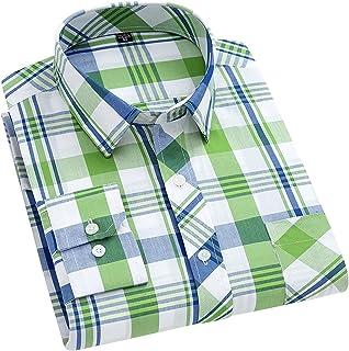 EODNSOFN Printemps Automne Plus La Taille À Carreaux 100% Coton Confortable Respirant Absorbant La Sueur Décontractée À Ma...