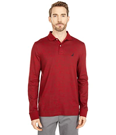 Nautica Leaf Print Long Sleeve Polo (Vintage Wine) Men
