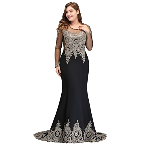 fa8e64b7a11 MisShow 2019 Plus Size Long Sleeve Mermaid Prom Evening Dresses Formal for  Women