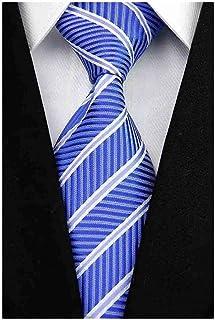 ربطة عنق للرجال من Veegood كلاسيكية من نسيج الجاكار والحرير منقوشة باللون الأزرق المخطط بدلة حفلات Z10