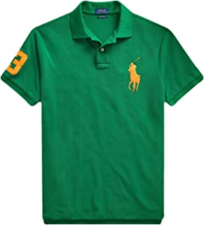 Ralph Lauren Polo Men's Big Pony Custom Slim Fit Cotton Mesh Polo Shirt (Kayak Green, Small)