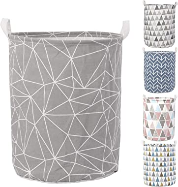 HOKIPO® Folding Laundry Basket for Clothes, Round Collapsible Storage Basket - Large 43 LTR (AR2536)