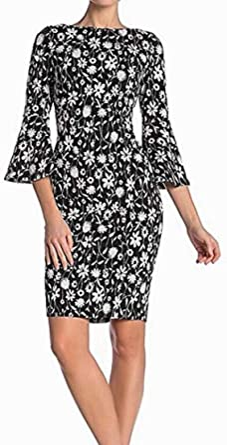Calvin Klein Womens 3/4 Peplum Sleeve Sheath Dress 3/4 Sleeve Dress - Multi - 12