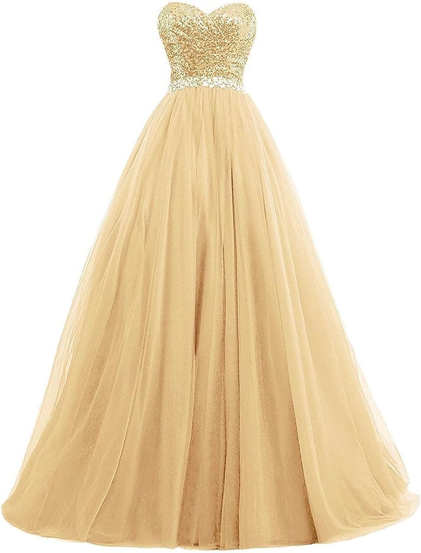 Ellystar Women's Sweetheart Sequins Sleeveless Zipper New Ball Gown Prom Dresses