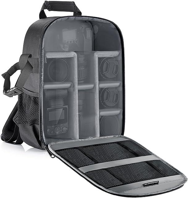 Neewer Mochila para cámara flexible acolchada con separadores con protector antigolpes para cámaras SLR y otros accesorios interior gris