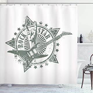 Ambesonne Guitar Shower Curtain, Stars with Rock Sign Monochrome Musical Instrument Design Rockstar Life Singing, Cloth Fabric Bathroom Decor Set with Hooks, 75