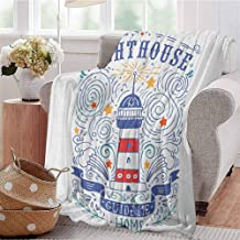 Luoiaax Lighthouse Commercial Grade Printed Blanket Vintage Hand-Drawn Lighthouse Print Typography Stars Waves Branches Lettering Queen King W60 x L50 Inch Multicolor