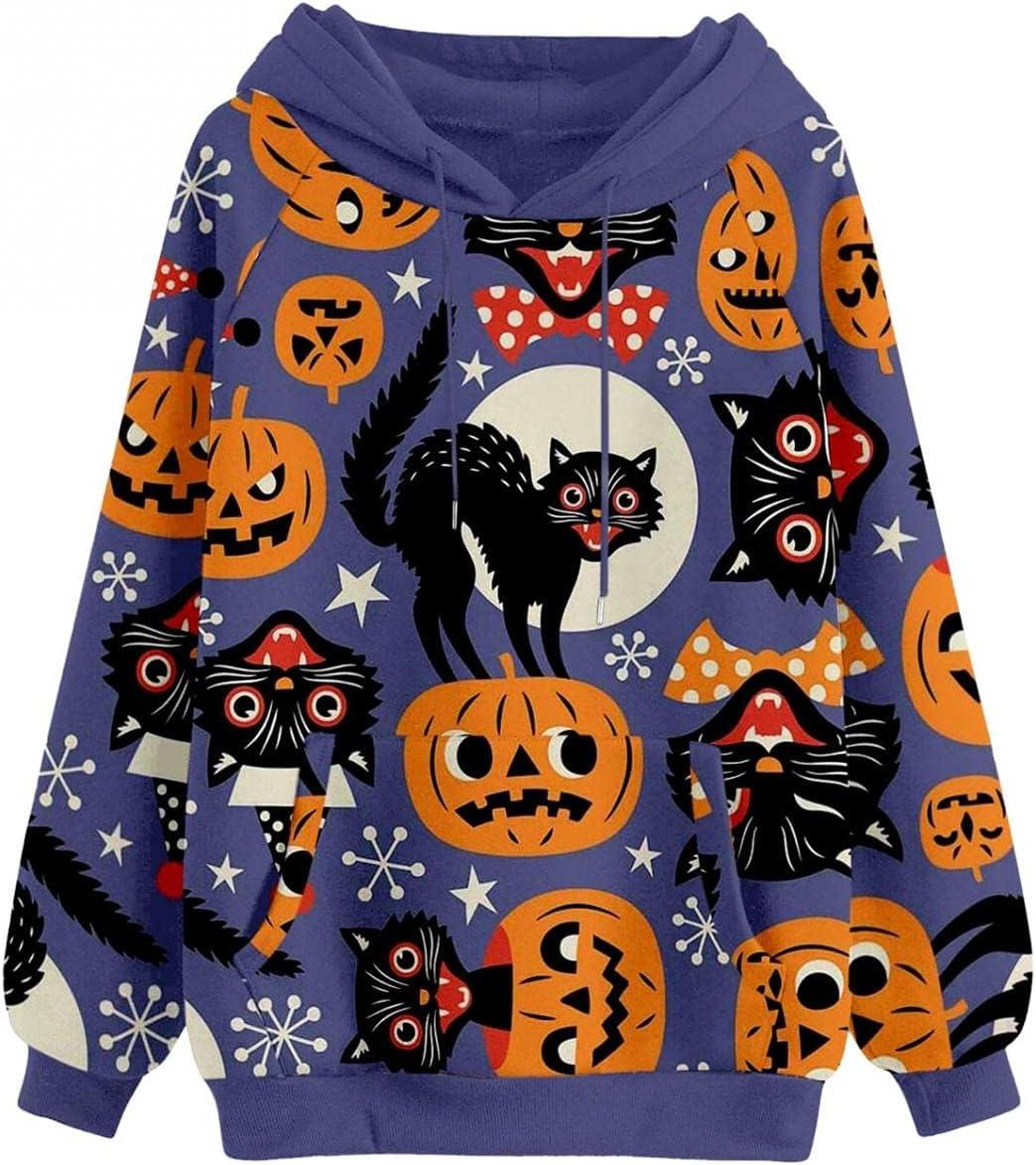 Women's Tops Sweatshirt Tshirt Max 80% OFF Free shipping Pumpkin Black Small Hallowe Cats