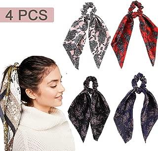 4 Pcs Hair Scrunchies Satin Silk Hair Scarf Band Ponytail Holder Bandana Elastics Scrunchy Ties Soft Ropes for Women Girls Hair Acessories