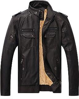 HAWEEL Men Plus Velvet Loose Leather Jacket Coat Windbreaker Jacket