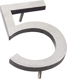 """Montague Metal Products MHN-6-F-BK2-5 Solid Brushed Aluminum Modern Floating Address House Numbers, 6"""", Satin Nickel Powde..."""