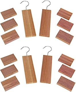 Huji Natural Cedar Wood and Moth Mildew Repellent Blocks and Protects Clothes (Four Set, Cedar Hanger and Blocks)