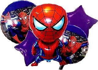 PARTY PROPZ Spiderman Theme FOIL Balloon Bouquet Set of 5/ Spider Man Party Supply/ Spider Man Party Decoration