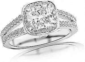 2.5 Ctw Cushion Cut Split Shank Halo 14K White Gold Diamond Engagement Ring (H-I Color I1-I2 Clarity 2 Ct Center)