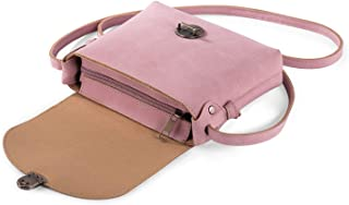 Women Girls Crossbody Bag with Anti-Theft Lock Vegan Leather Small Shoulder Bag Side Bags for Holiday Travel City Pink Han...