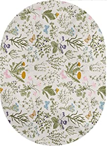 Floral Oval Area Rug Carpet,Vintage Garden Plants with Herbs Flowers Botanical Classic Design Home Collection Modern Area Rug,4'x 6'Oval,for Kids Room Living Room Dorm Nursery Home Holiday Decor