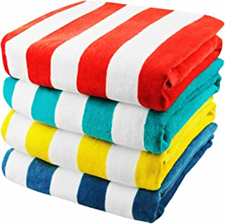 """Exclusivo Mezcla 4-Pack 100% Cotton Cabana Striped Beach/Pool/Bath Towel(30"""" x 60"""")�Soft, Quick Dry, Lightweight, Absorbent and Plush"""