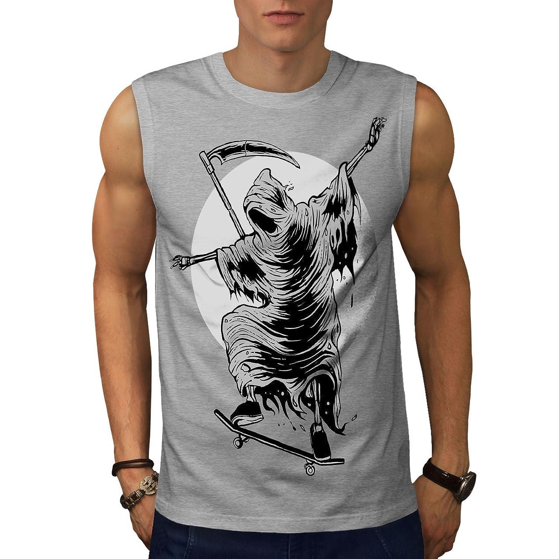 Wellcoda 死神 スケートボード ホラー 男性用 S-5XL 袖なしTシャツ