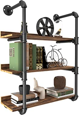 YITAHOME 3 Tier Pipe Shelves Wall Mounted Industrial Retro Iron Shelf, Open Pipe with Hanging Bracket, DIY Storage Shelves, K