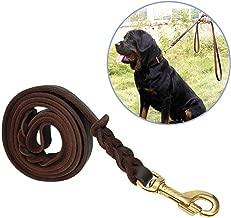 Kismaple Lunghezza 210cm 260*1.8cm 260cm Fatto a mano Guinzaglio del cane di cuoio genuino Per il grande cane medio Scivolare Ciclo continuo Cerchio Corda di guerra di addestramento Marrone
