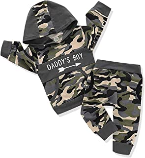 Toddler Infant Baby Boys Camouflage Clothes Daddy's Boy Long Sleeve Hoodie Camo Sweater Top Pants Fall Winter Outfit Set