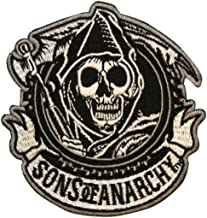 Sons Of Anarchy SOA Reaper Circle Biker Embroidered Iron On Applique Patch