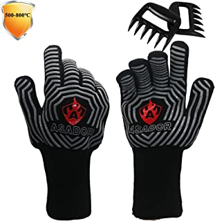 ASADOR BBQ Grill Gloves and Meat Claws,1472℉ Extreme Heat Resistant Gloves/Mitts for BBQ Grilling, Smoker ,Pizza Oven & Fi...