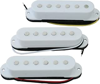 Electric Guitar Pickup Ceremic Magnet Neck Middle Bridge Single Coil Pickups Compatible with Strat Style SSS Electric Guitar Parts Replacement Set of 3Pcs White.