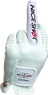 Nice Shot The Bird Cabretta Leather Golf Glove Men's Left Hand White Large L