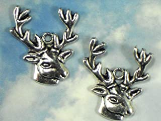 6 Stag Head Big Buck Charms Antique Tibetan Silver Tone Vintage Crafting Pendant Jewelry Making Supplies - DIY for Necklace Bracelet Accessories by CharmingSS