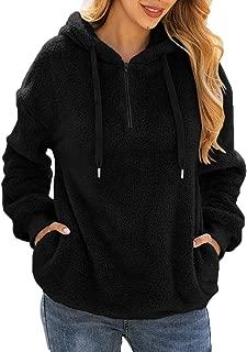Women's Long Sleeve Fuzzy Sherpa Fleece Sweatshirt Coat Zipper Hoodie Oversized Pullover Outwear with Pockets