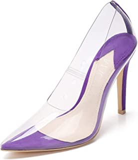 Mackin J 347-10 Women Clear Shoes Pointed Toe Pumps Slip On Stiletto High Heel Dress Shoes Transparent
