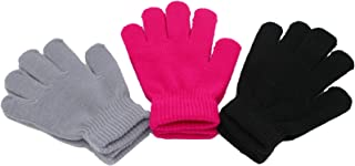 Yaobabymu Kids Winter Knitted Gloves Warm Stretchy Comfortable Gloves Girls Boys Magic Gloves