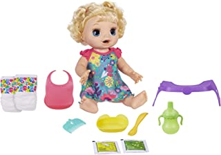 Hasbro BABY ALIVE Happy Hungry Baby Blond Curly Hair Doll, makes 50+ Sounds and Phrases, Eats and Drinks and Fills Her Nap...