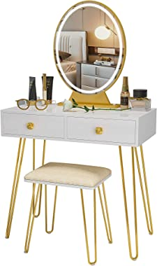 LVSOMT Vanity Desk Set with Lighted Mirror & 2 Drawers, Makeup Vanity Dressing Table with 3 Colors Touch Screen Dimming M