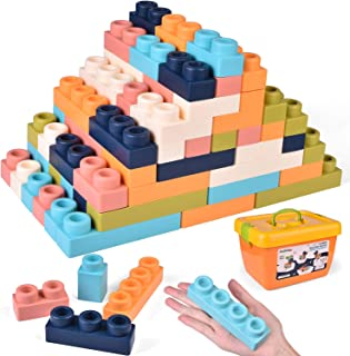 FunLittleToy 126 Pieces Soft Building Blocks for Toddlers, Learning Educational Building Bricks Set, Boys & Girls Gifts