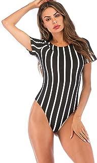 MAKEMECHIC Women's Basic Long Sleeve Bodysuit Stretchy Jumpsuit Tops
