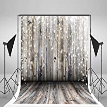 6.5x10ft Light Grey Wood Wall Photography Backdrop Gray Wooden Floor Photo Backgrounds for Christmas