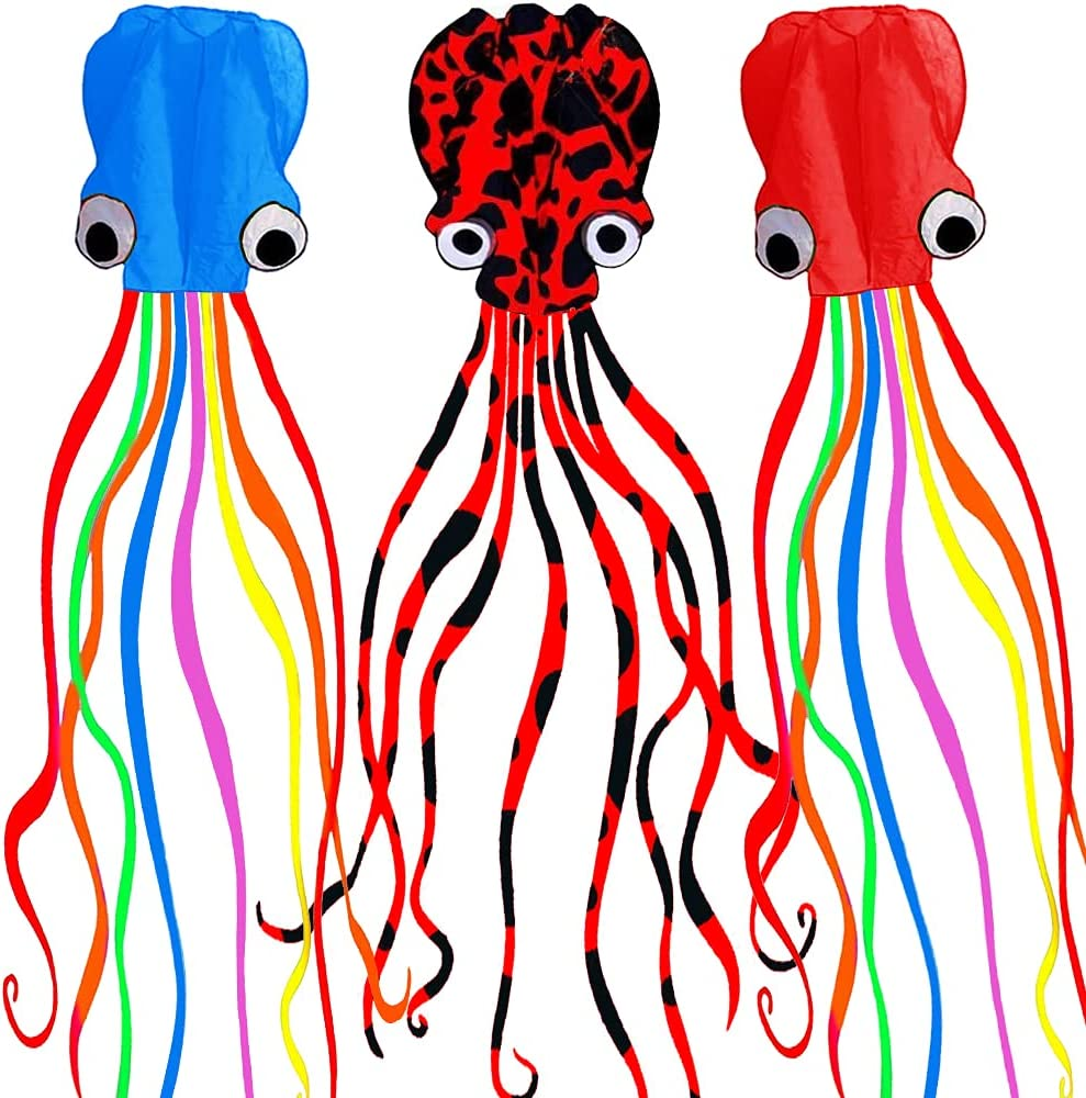 Motiloo 3Pack Large Octopus National uniform free shipping Kites Bea Tail Long Easy Max 75% OFF Flyer