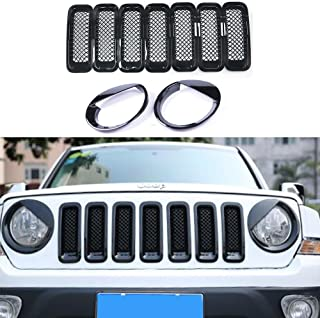 AVOMAR Front Grille Grill Mesh Grille Insert Kit + Angry Bird Style Headlight Lamp Cover Trim For Jeep Patriot 2011-2016 (Black Front Grill Mesh Insert + Angry Bird Headlight Cover-4)