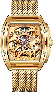 Watch Gold Automatic Mechanical Stainless Steel Case Skeleton Tonneau Silicone Strap Sapphire...