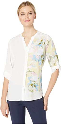 Printed Blousing Blended Floral Print Tab Up Sleeve Blouse