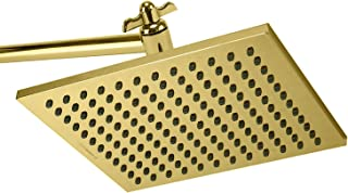 ShowerMaxx, Elite Series, 8 inch Square High Pressure Rainfall Shower Head, MAXX-imize Your Rainfall Experience with Easy-to-Remove Flow Restrictor Rain Showerhead, Polished Brass/Gold Finish
