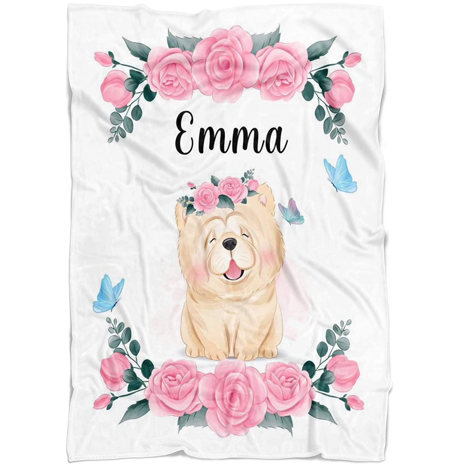 Pink Sales for sale overseas Chow Custom Baby Name Blanket Girl Ch Rose for Floral