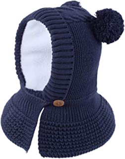 Toddler Baby Fleece Lined Winter Hat Knit Windproof Hood Sarf Beanie