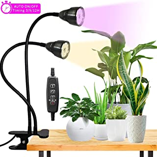 LED Grow Light for Indoor Plant,360° Gooseneck Dual Head Clip-on Plant Lights for..